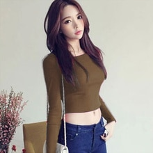 Mujeres traje de manga larga Crop Tops cuello redondo de alta cintura Camiseta Slim Fit Tops NYZ Shop