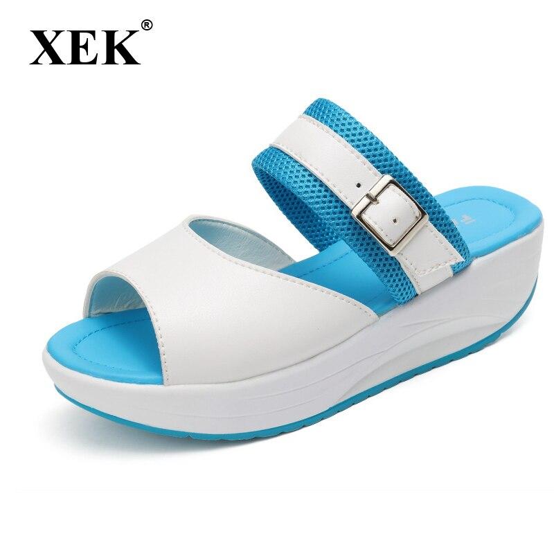 XEK Summer Women Sandals 2018 New Slip On Flats Fish Mouth Beach slippers Sandals Comfortable Casual