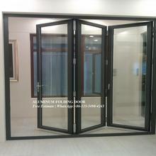 소리 감소 알루미늄 이중 접히는 문, 외부 아코디언 주문을 받아서 만들어진 입구, 유리제 집 문