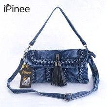 IPinee nouveau Style rétro Denim sac à bandoulière mode petites femmes sac à bandoulière gland femmes sac de messager