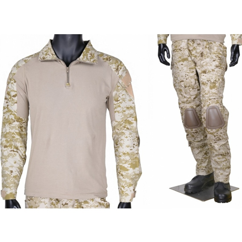 CQC Tactical Airsoft Military Army Combat BDU Uniform Shirt & Pants Set Gen2 Camouflage Outdoor Paintball Hunting Digi-Desert
