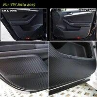 4pcs new interior carbon fiber doors side edge anti kick protection pad sticker for vw jetta 2015