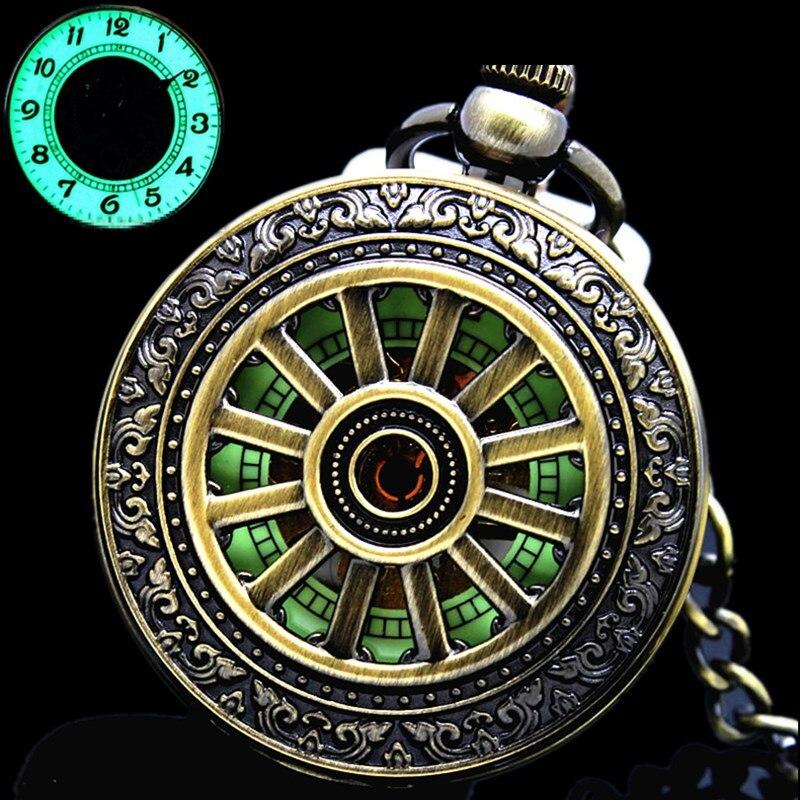 ساعة جيب ميكانيكية مضيئة ، جديدة ، برونز كلاسيكي ، مخرمة ، غطاء مخرم ، تناظري للرجال ، هدية