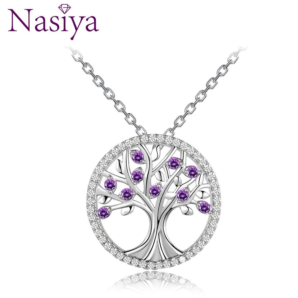 Árbol de la vida gran oferta collares colgantes de platino con piedras espinales joyería de plata Collar para mujeres Top marca regalo de boda