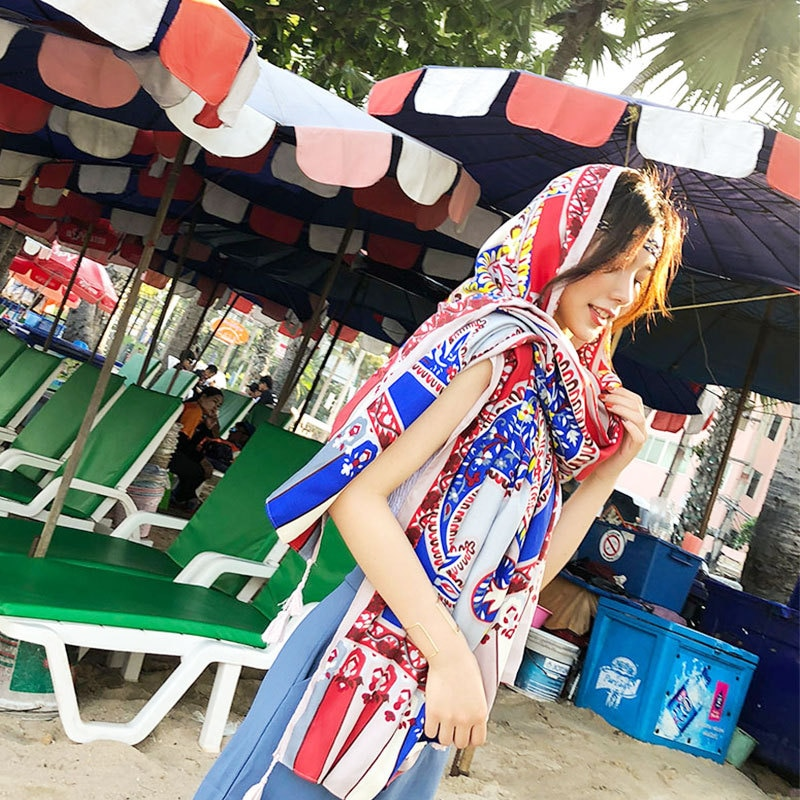 Bufanda de seda para mujer de lujo de verano de 180*100 cm chal de playa bufandas de abrigo de Echarpe Bandana de playa de gran tamaño