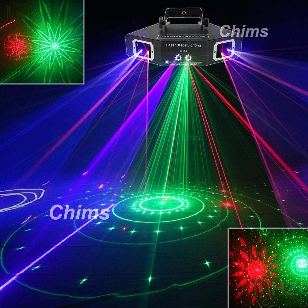 Chims DMX 4 عدسة RGB الأحمر الأخضر الأزرق شعاع نمط شبكة الليزر ضوء المنزل الموالية DJ تظهر KTV ماسحة نادي المرحلة الإضاءة A-X4