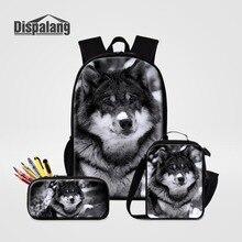الذئب مع الثلج 3 قطعة مجموعة حقيبة الظهر مقلمة Lunchbox للمدرسة الحيوان نمط مخصص الحقائب المدرسية للبنين الرجال حقيبة عادية