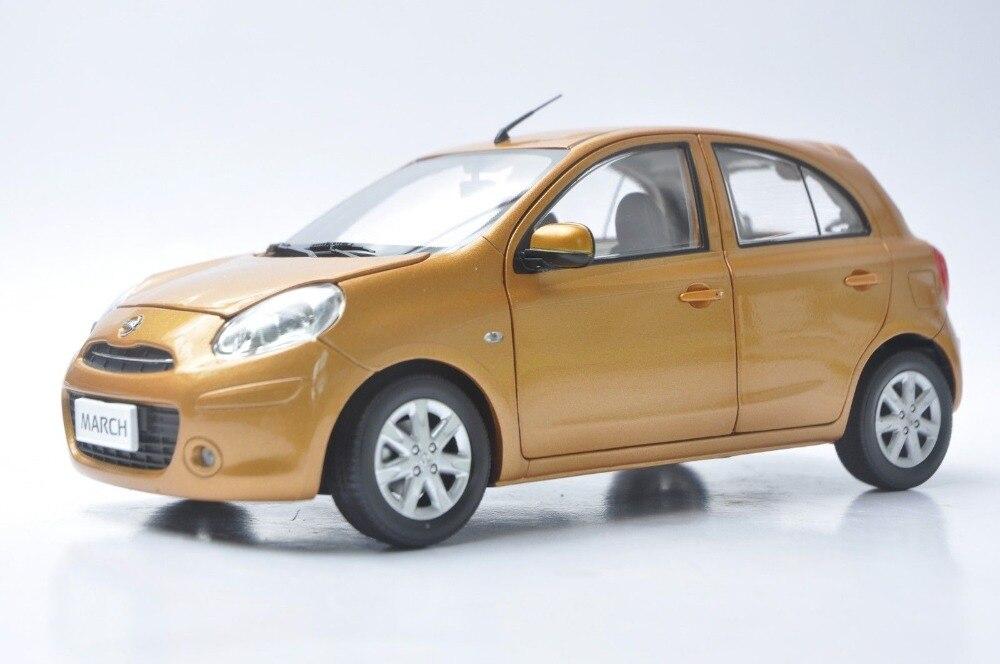 Modelo de fundición a escala 118 para Nissan March, Micra Orange, Minicar juguete de aleación, colección de coches en miniatura, regalos