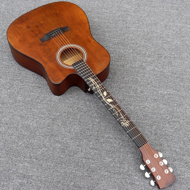 Guitare acoustique électrique de couleur vintage de 41 pouces avec la ficelle libre de fretboard dincrustation de fleur