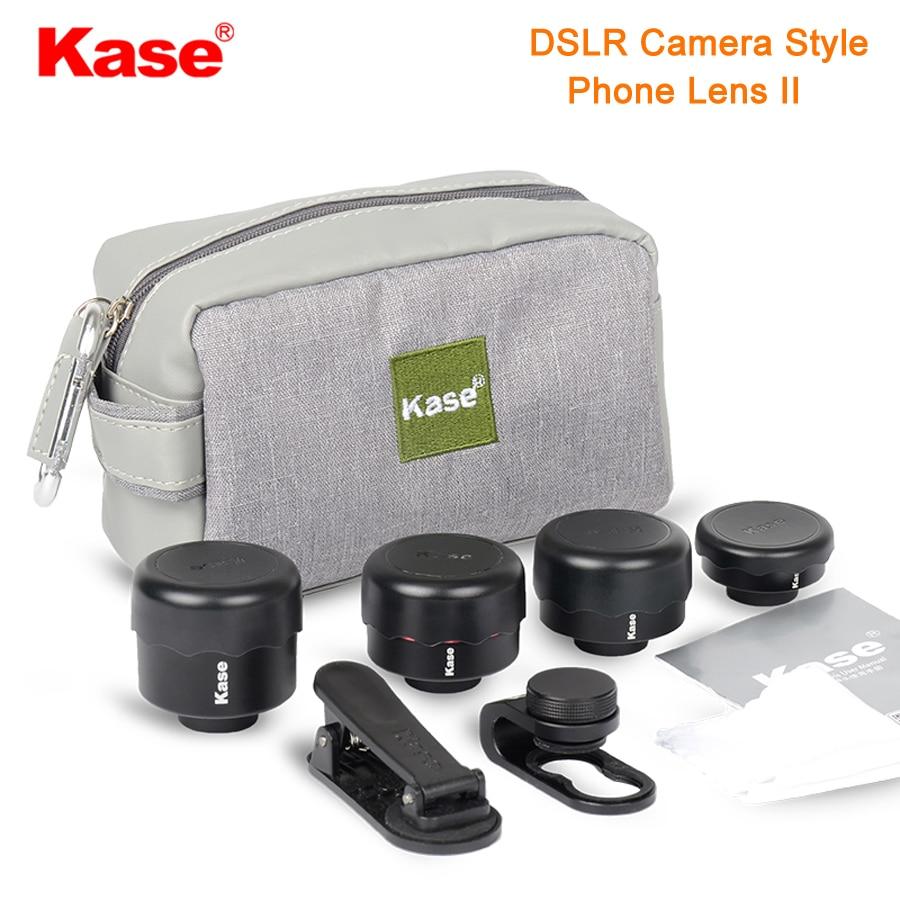 Get Kase 4 in 1 DSLR Camera Style Phone Lens II Kit  Wide Angle/Macro/Fisheye/Telephoto Lens for Smartphone iPhone 8 Samsung Huawei