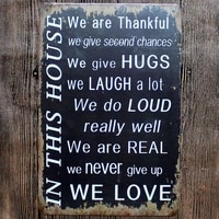 in this house we are thankful metal tin sign vintage plaques wall pub cafe home art party decoration metal poster a 5397