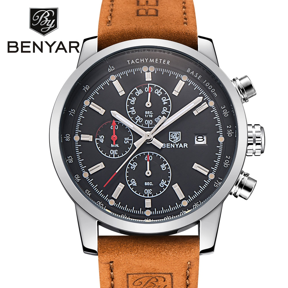 BENYAR Sport Men Watch Male Top Brand Luxury Quartz Chronograph Wrist Watch Men Waterproof Clock relogio masculino reloj hombre