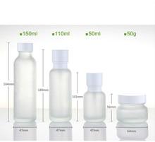 Bouteille de Toner en verre cosmétique vide 50ml 110ml 150ml bouteille de Lotion en verre dépoli bouteille de pompe émulsion emballage 50G pot de crème 8 pièces/lot