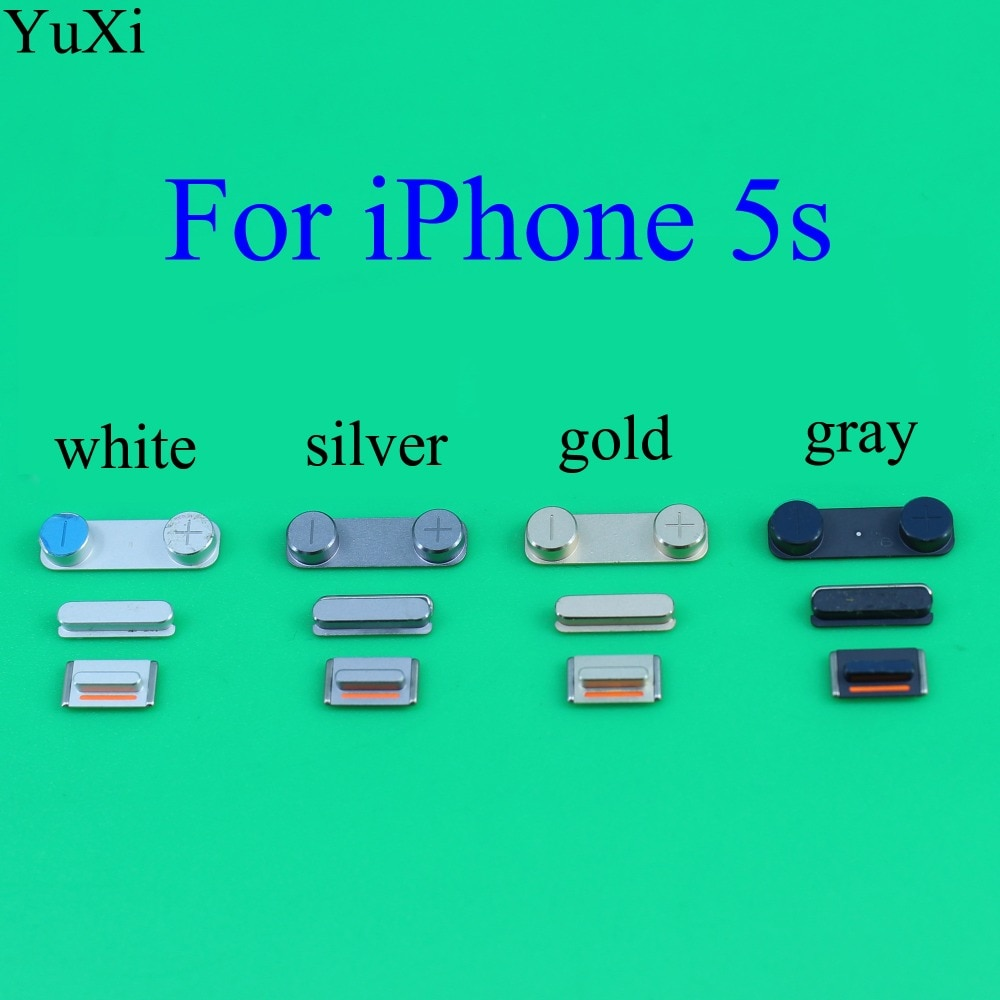 YuXi alta calidad 3 en 1 Juego de teclas laterales botón de volumen de bloqueo + botón de encendido/apagado + botón de interruptor de silencio para iPhone 5S
