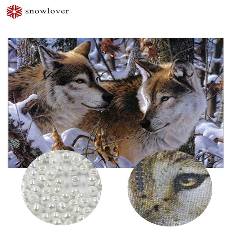 Вышивка снежной погоды, рукоделие, вышивка крестом, вышивка крестом, джунглей, волка, снега, точный рисунок с животными