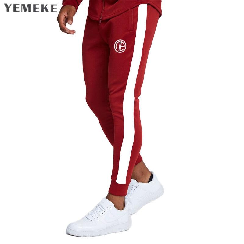 YEMEKE Gyms Men Joggers Casual Men stitching Sweatpants Joggers Pantalon Homme Trousers Sporting Clothing Bodybuilding Pants