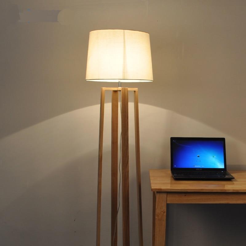 De madera maciza nórdica moderna minimalista lámpara de piso de madera japoneses nuevos habitación sala de estudio vertical de madera maciza lámparas MZ139