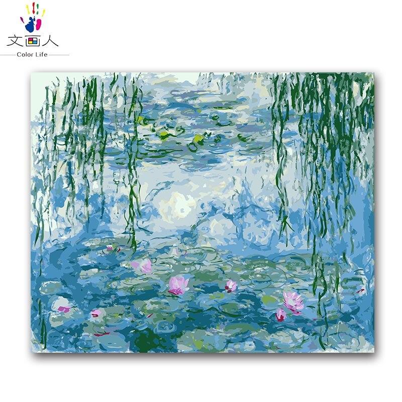 Colorear por números Monet lirio de agua digital pintura al óleo por números con kits de weeping willow Impresión de pintura al óleo de lona
