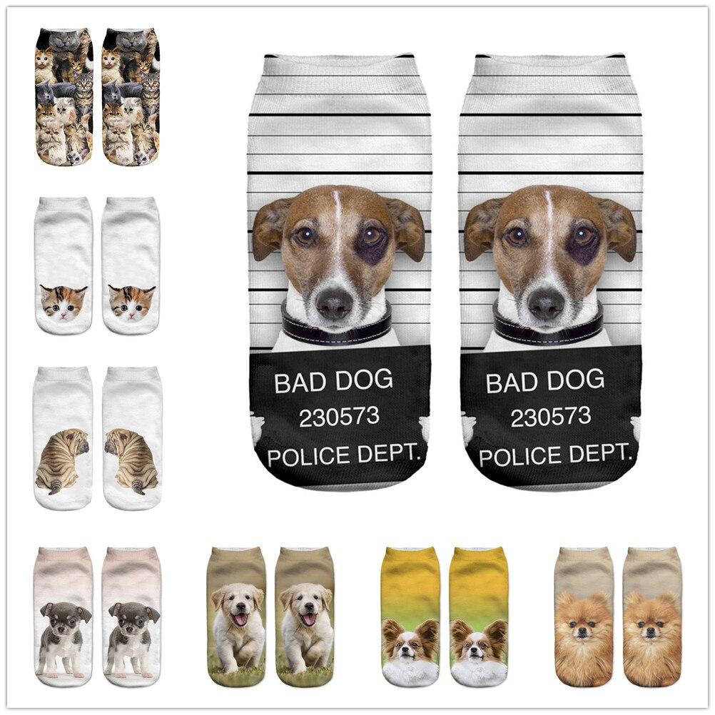 Hot Sale 3D Digital Printed Chow Dog Women Socks Unisex Fashion Cute Short Sock Women Low Anklet Print Cute Dog Sock