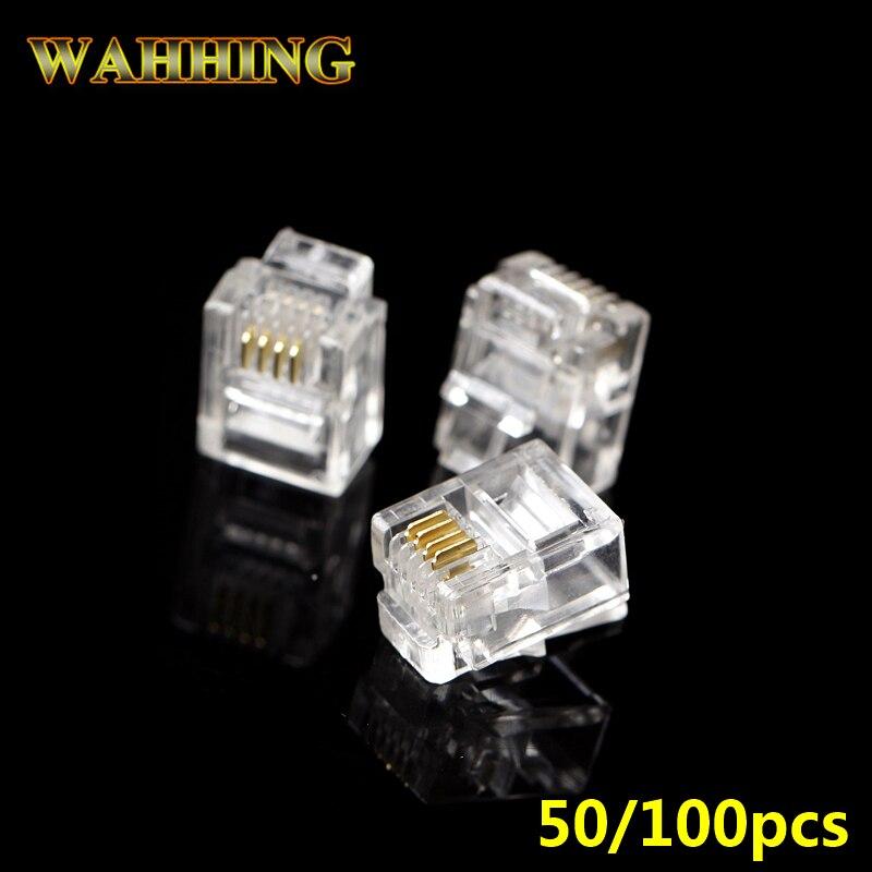 50/100 Uds 4Pin RJ11 6P4C cristal conector de clavija del adaptador de Cable de teléfono RJ11 cat3 4Pin Modular enchufes adaptador de conector HY849