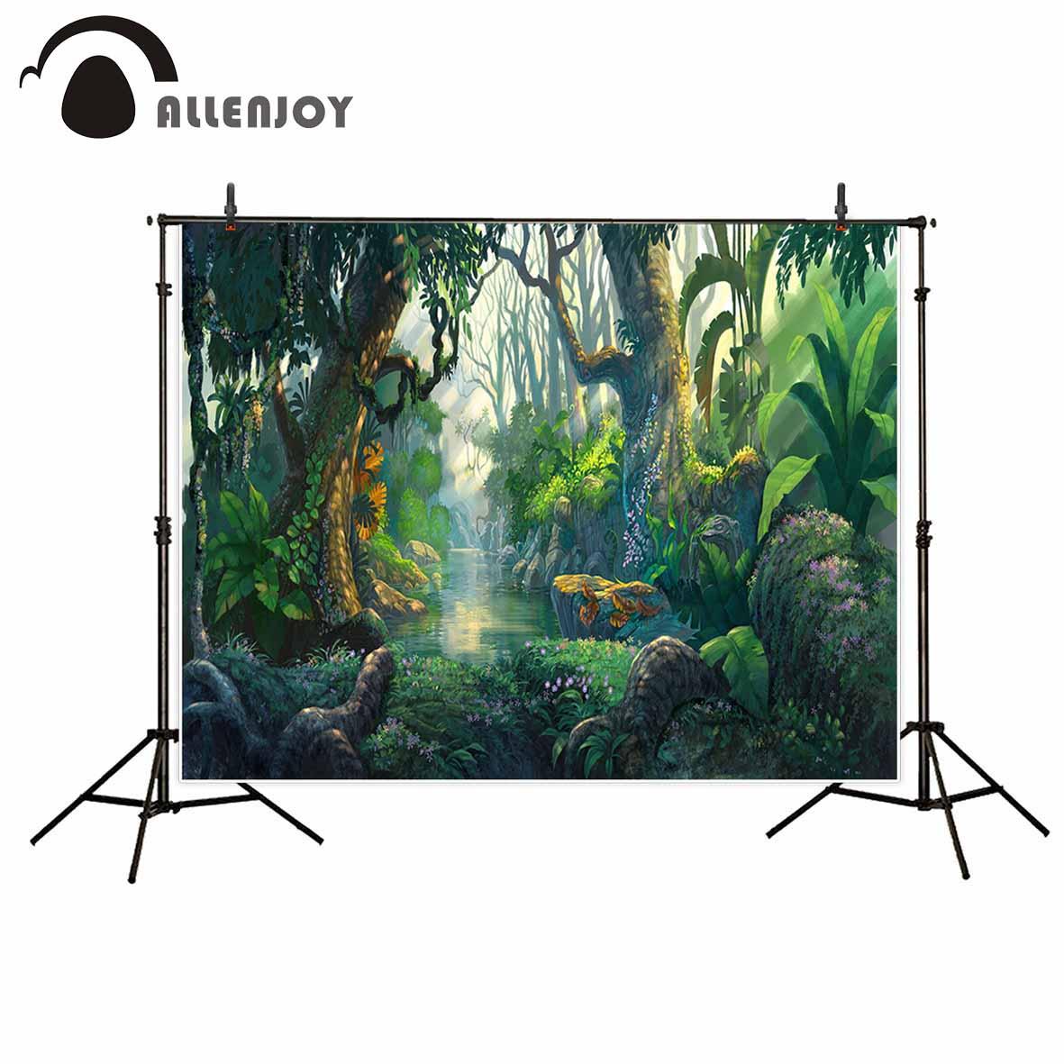 Allenjoy fotografie hintergrund wald cartoon grün wunderland baum hintergrund photobooth foto studio foto prop