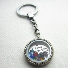 Je taime à la lune et dos rond cristal acier inoxydable vis flottant médaillon porte-clés porte-clés avec pierres de naissance 5 pièces