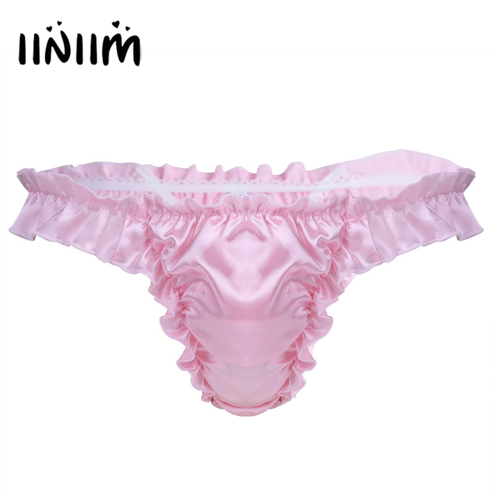 Reino Unido STOCK para hombre, lencería suave, cómoda, brillante, con volantes, Bikini afelpado, cintura elástica, Bragas, tanga, ropa interior, calzoncillos