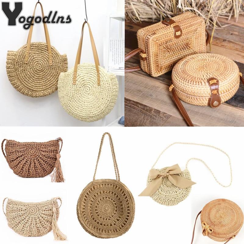 Simple Straw Circular Square Women Shoulder Bag Handmade Woven Bohemian Handbag Summer Beach Lady Large Capacity Wicker Tote