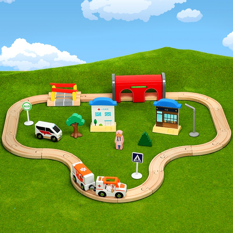 train track toys Hospital ambulance game  Kids compatible with Brio tracks Childrens toy car combination