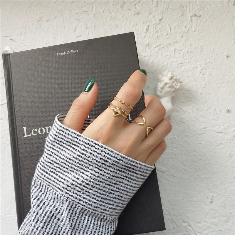 Anillo de Plata de Ley 925 pura de 100%, anillo de paralelogramo Simple a la moda, anillo de dedo hueco de doble línea Punk, joyería para mujer