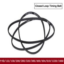 GT2 Closed Loop Timing Belt Rubber 110/122/158/200/400/610/1220mm 2GT BELT width 6mm suitably GT2 pulley for 3d printer parts