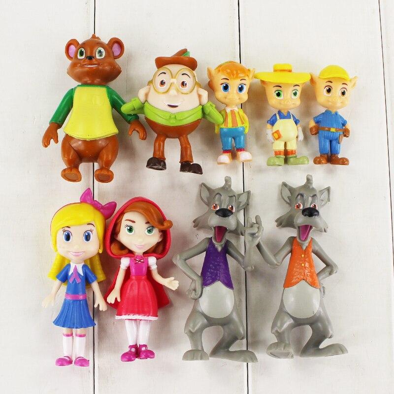 9 unids/lote figura Goldie y oso juguete Goldie cerraduras Jack Bear rojo Big Bad figurita de lobo modelo muñeca para niños