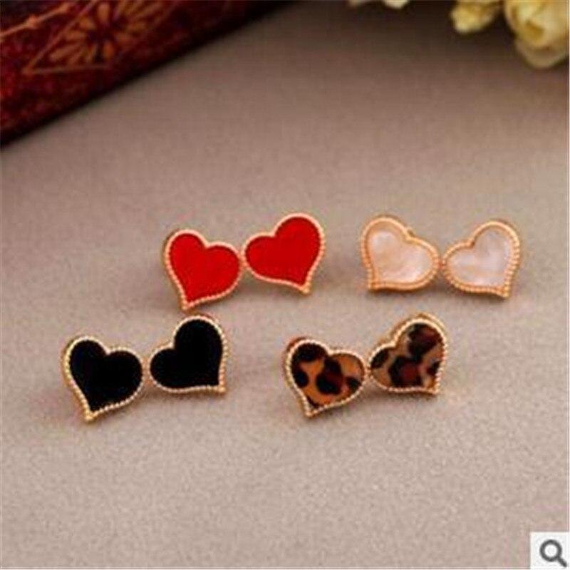 Brincos Simple nueva moda chapado en oro inoxidable corazón stud pendiente para las mujeres mariposa trébol bijoux