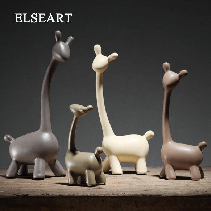 Decoração da Casa Sala de Artesanato Estatuetas de Porcelana Decorações do Casamento Minimalista Cerâmica Girafa Veados Decoração Artesanato Ornamento
