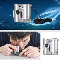 1pcs new mini 60x pocket microscope jewelry magnifier loupe glass led uv light brand new