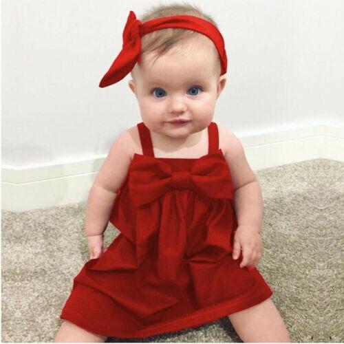Fiesta de verano rojo sólido sin mangas Sling espalda bebé recién nacido chica chico vestido Bowknot Vestido corto traje vestidos 0-3YEAR