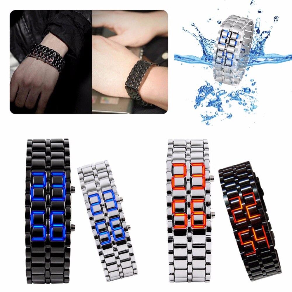 Reloj LED deportivo con plancha de lava Samurai y Metal volcánico para hombre y mujer