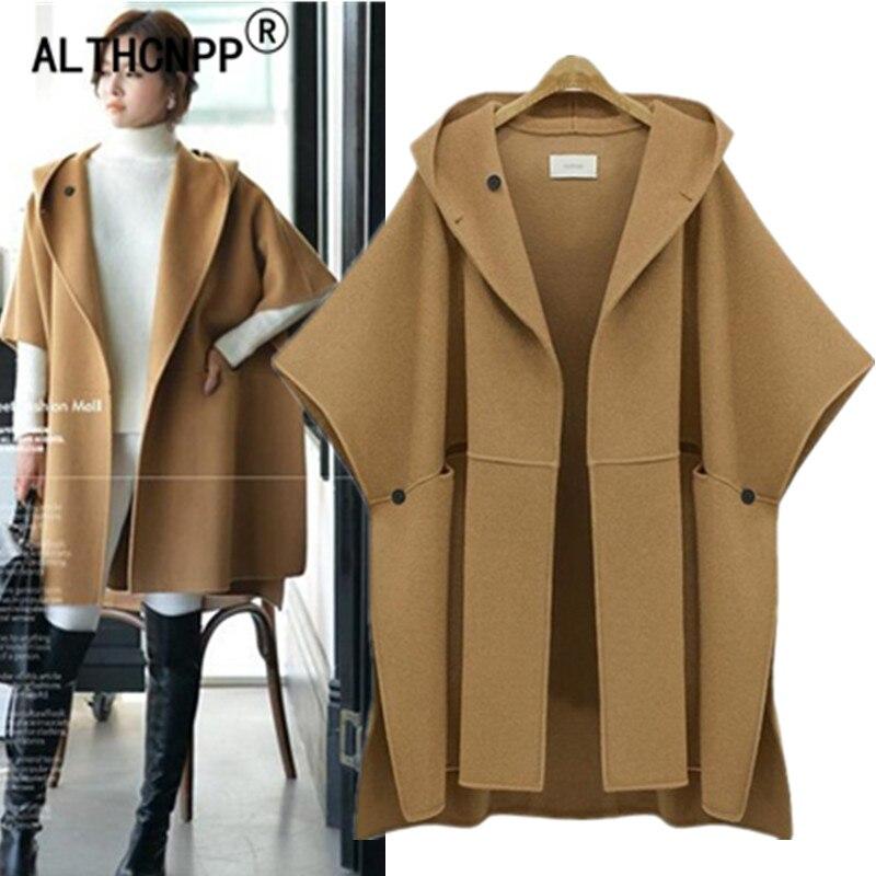 XL-5XL de talla grande holgada con capucha capa de lana Abrigo largo...