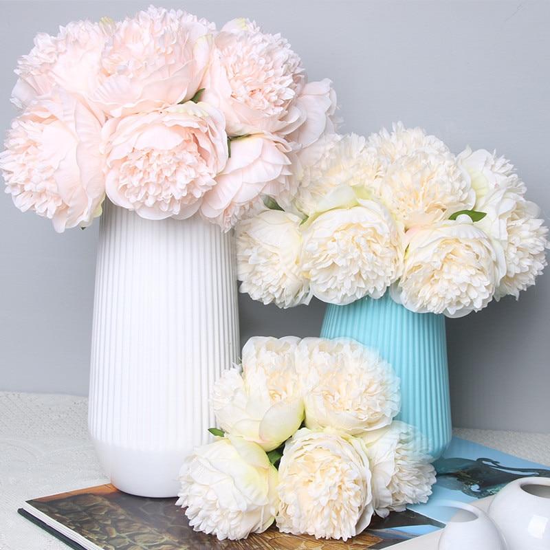 5 flor cabeza peonía flores de seda Artificial pequeño ramo flores fiesta en casa primavera boda decoración mariage flor falsa