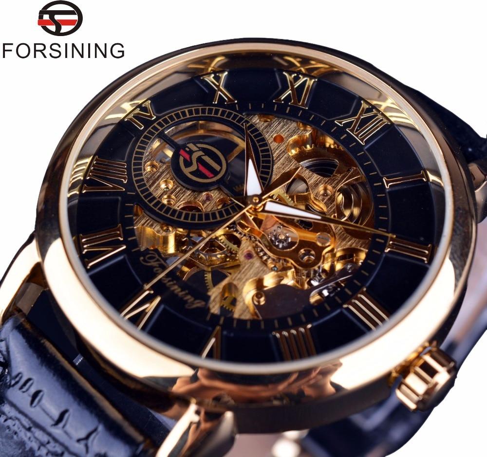 Forsining, без картонной коробки, мужские часы, лучший бренд, роскошные механические часы с каркасом, черные, золотые, 3D, буквенный дизайн, Римски...