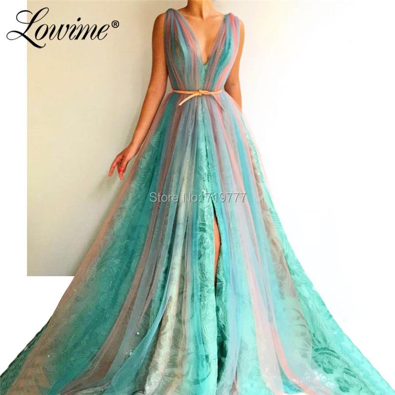 Vestido De noche De mujer con cuello en V Abiye Gece Elbisesi 2019 vestidos largos De baile Árabe De Dubai vestidos De fiesta De boda De lado alto