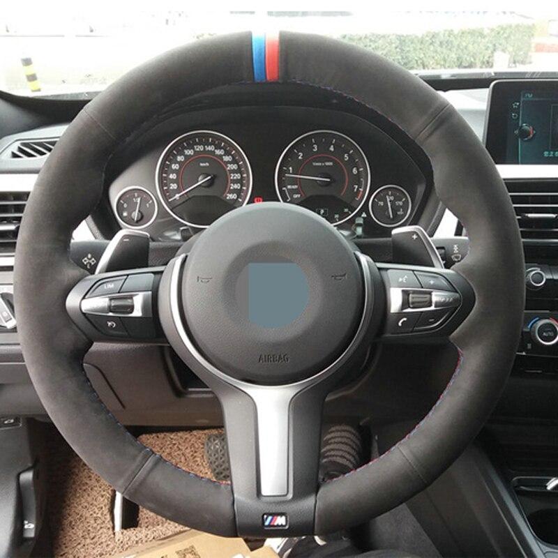 APPDEE черный замшевый чехол рулевого колеса автомобиля для BMW F87 M2 F80 M3 F82 M4 M5 F12 F13 M6 F85 X5 M F86 X6 M F33 F30 M Sport