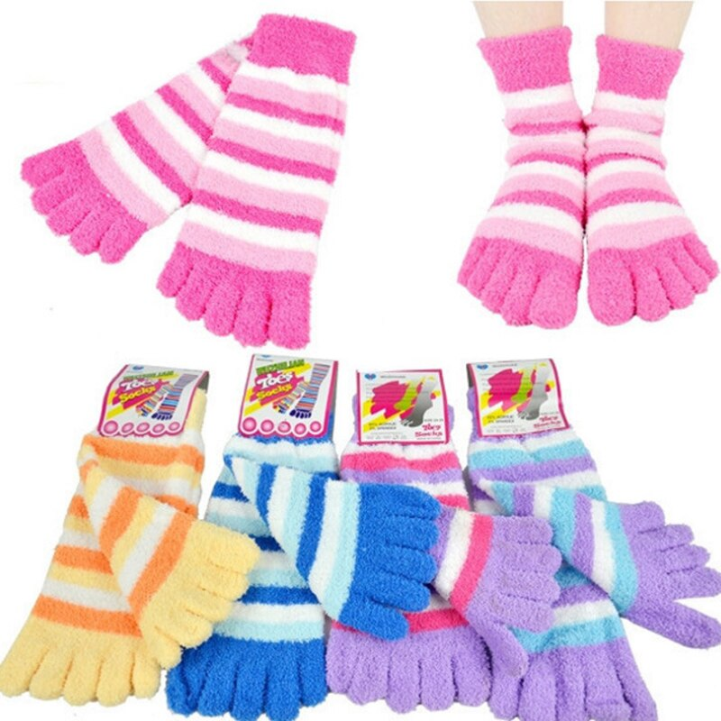 Зимние теплые носки с пальцами, женские теплые мягкие носки, пушистые тапочки, носки, женские носки