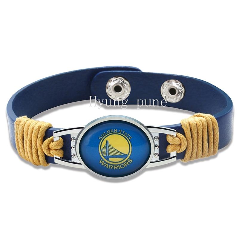 Oro estado baloncesto cuero genuino pulsera ajustable brazalete 12mm azul cuero broche botón encanto joyería