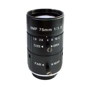 "HD 8MP 75mm CCTV Camera C Mount Lens Manual Iris Manual Focus F2.8 Aperture 1"" Image Format Industrial Security Camera Lens"
