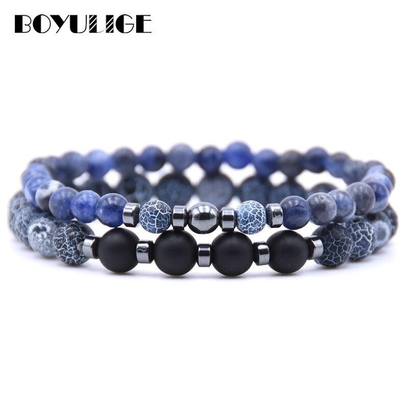 Новый очаровательный натуральный камень, энергии браслеты, состаренный камень, бисер, металлические прокладки, двойной, отделанный бисером, браслет для мужчин и женщин, мужские и женские украшения
