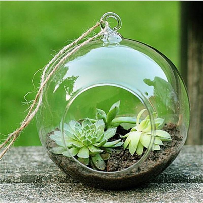 2017 New Clear Round Hanging Glass Vase Bottle Terrarium Flower Garden Home Decor 10cm Wedding Decoration Vase Drop Shipping