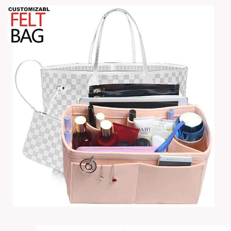 Customizable Felt Tote Organizer Bag w/Milk Water Bottle Holder)Neverfull MM GM PM Speedy 30 25 35 40 Purse organizer Insert
