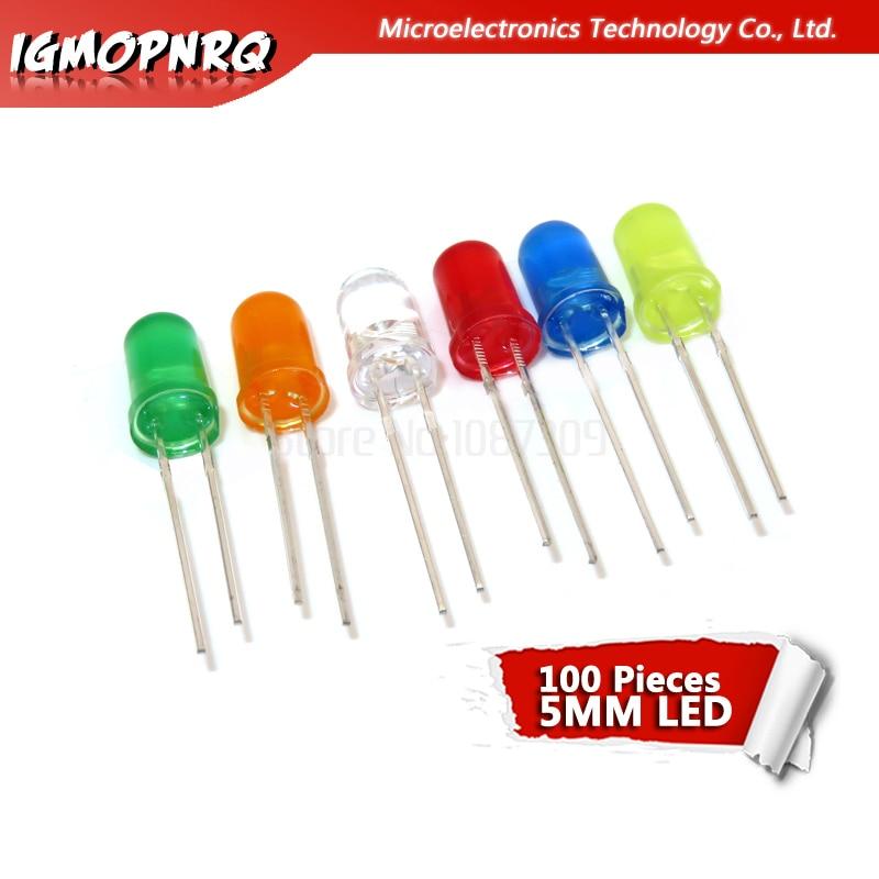 100 Uds 5mm LED diodo 5mm cabeza redonda niebla rojo/amarillo/Blanco/verde/azul led kit