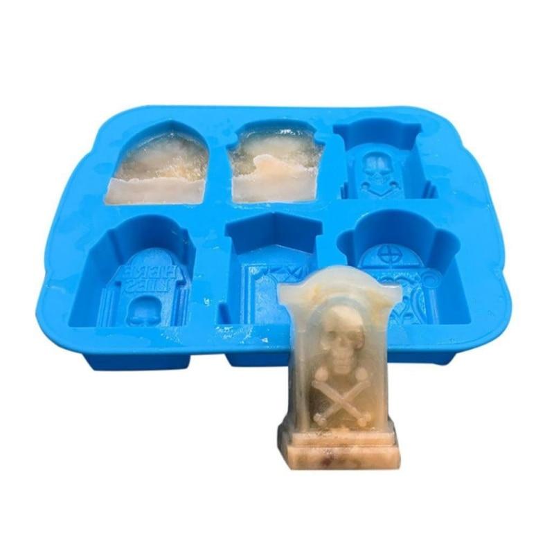 Molde de silicona para cubitos de hielo de Tombstone en 3D para Halloween, molde de cubitos de hielo de 6 rejillas, bandeja con tapa, Bar, fiesta, herramientas de helado DIY